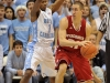 November 30, 2011: Dexter Strickland #1 and Josh Gasser #21 in action during NCAA Basketball game between the North Carolina Tarheels and Wisconsin Badgers as part of the Big Ten/ACC Challenge at The Dean Dome, Chapel HIll, NC.