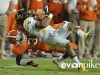January 04 2011: Rashard Hall #31 and Andre Buie #13 in action during NCAA football Discover Orange Bowl between West Virginia and Clemson at Sun Life Stadium, Miami Florida.