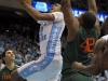 January 10, 2012: John Henson #31 and Reggie Johnson #42 in action during NCAA Basketball game between the North Carolina Tarheels and University of Miami Hurricanes at The Dean E. Smith Center, Chapel HIll, NC.