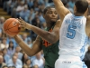 January 10, 2012: Reggie Johnson #42 and Kendall Marshall #5 in action during NCAA Basketball game between the North Carolina Tarheels and University of Miami Hurricanes at The Dean E. Smith Center, Chapel HIll, NC.