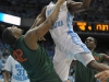 January 10, 2012: Harrison Barnes #40 and Reggie Johnson #42 in action during NCAA Basketball game between the North Carolina Tarheels and University of Miami Hurricanes at The Dean E. Smith Center, Chapel HIll, NC.