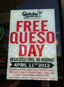 Can't wait for @QdobaMexGrill free queso day! April 11th