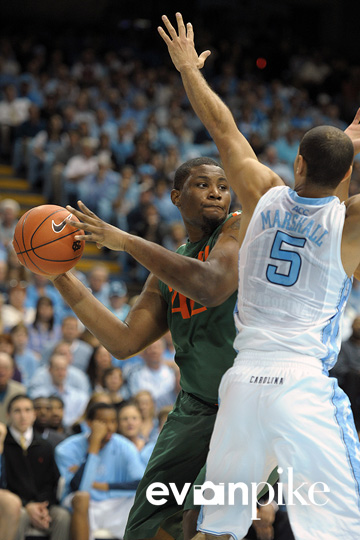 NCAA Basketball 2012: University of Miami vs University of North Carolina Jan 10