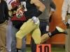 December 29 2011: Zeke Motta #17 returns a fumble for a touchdown during NCAA football Champs Sports Bowl between Notre Dame Fighting Irish and Florida State Seminoles at Florida Citrus Bowl Stadium, Orlando, Florida.