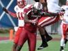 January 02 2011: Daimion Stafford #3 and Curenski Gilleylen #11, defend Jason Barnes #4 during NCAA football Capital One Bowl between Nebraska and South Carolina at Florida Citrus Bowl Stadium, Orlando, Florida.