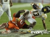 January 04 2011: DeAndre Hopkins #6 tackles Andrew Buie #13 during NCAA football Discover Orange Bowl between West Virginia and Clemson at Sun Life Stadium, Miami Florida.