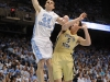 January 29th, 2012:North Carolina Tar Heels forward Tyler Zeller #44 dunks while Georgia Tech Yellow Jackets center Daniel Miller #5 watches during NCAA basketball game between the North Carolina Tar Heels and the Georgia Tech Yellow Jackets as part of Coaches Vs. Cancer, at The Dean E. Smith Center, Chapel HIll, NC.  UNC Players wore special pink Air Jordans.