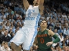January 10, 2012: Kendall Marshall #5 in action during NCAA Basketball game between the North Carolina Tarheels and University of Miami Hurricanes at The Dean E. Smith Center, Chapel HIll, NC.